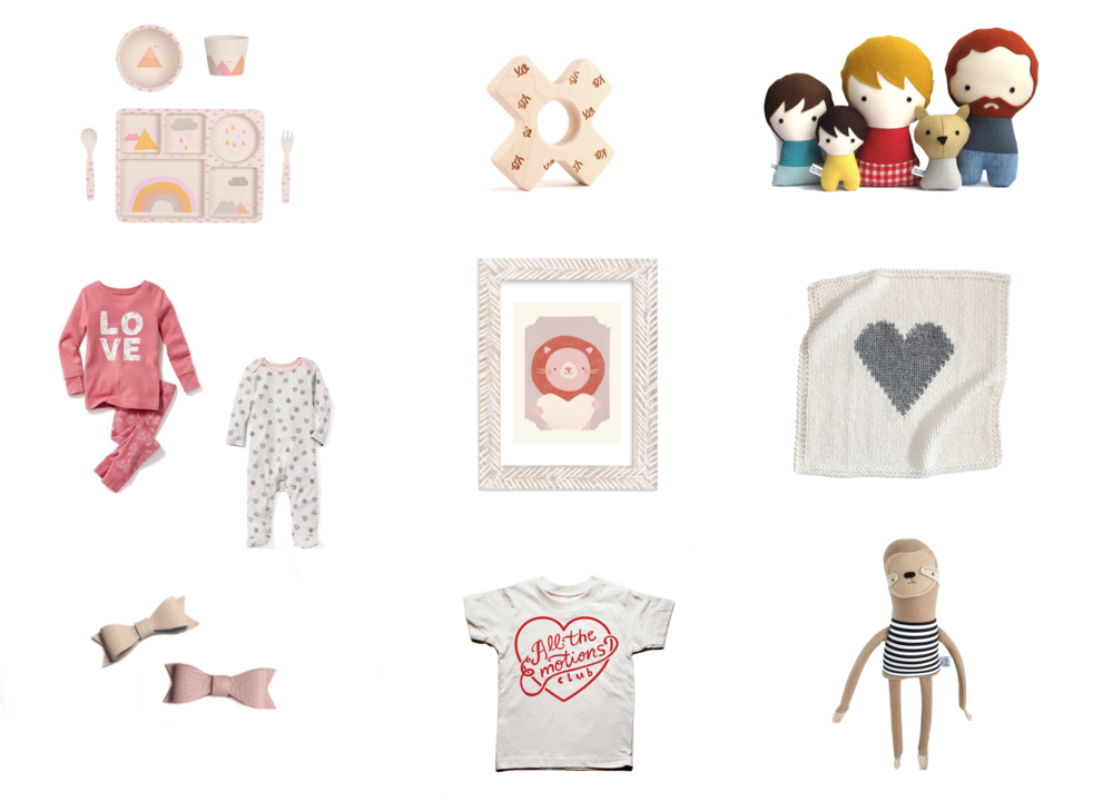 Top Row:  rainbow bamboo dinnerware ,  hugs and kisses teething toy ,  personalized plush family   Middle Row:  heart pajamas  and  love pajamas ,  valentine zoo art print ,  heart knit blanket   Bottom Row:  leather bow clips ,  all the emotions club tee ,  plush sloth