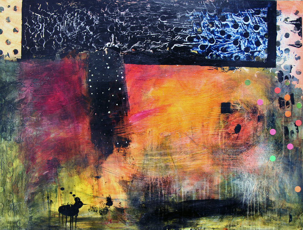 "Brighter in the Dark 30"" x 40"" mixed media"