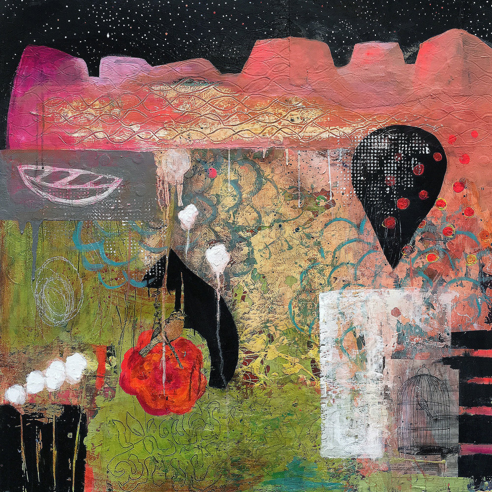 "La Paloma 36"" x 36"" mixed media"