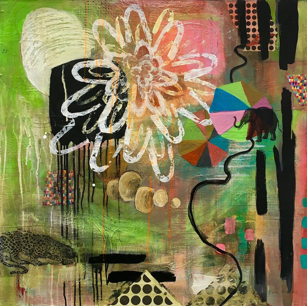 "All the Way Home 30"" x 30"" mixed media"