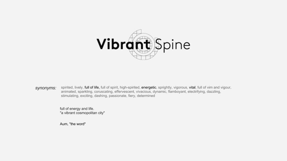 The double meaning of the final concept name; Vibrant Spine refers to the role of the spine in our physical experience and also the spines central role in meditation practice as a way of finding balance and joy. The vibrant is the quick vibration - frequency, creating energy and life.
