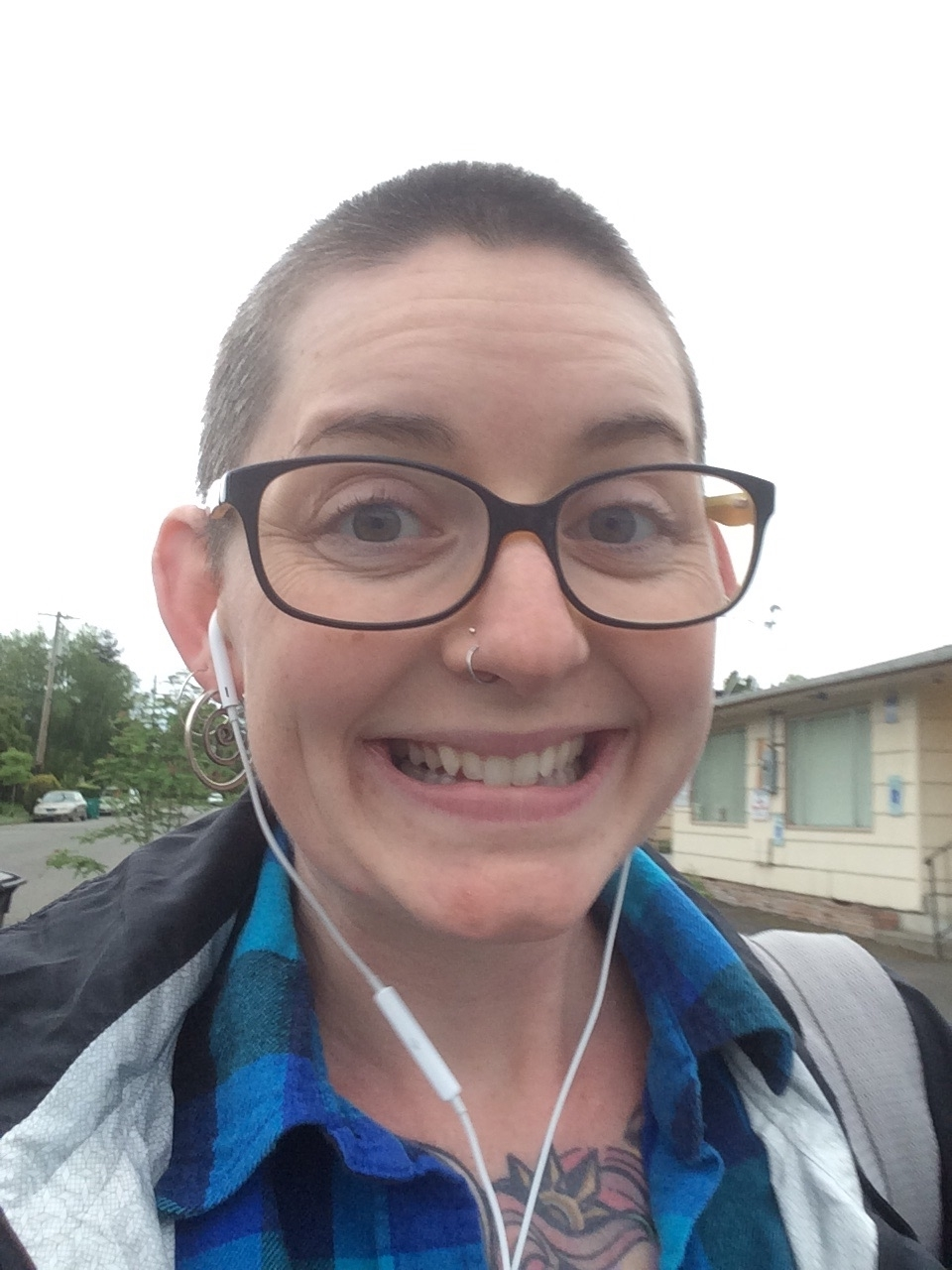 And of course, the face of the researcher. I shaved my head to support my niece after she had brain surgery!