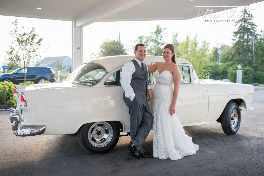 Bride and Groom Portraits Vintage Car