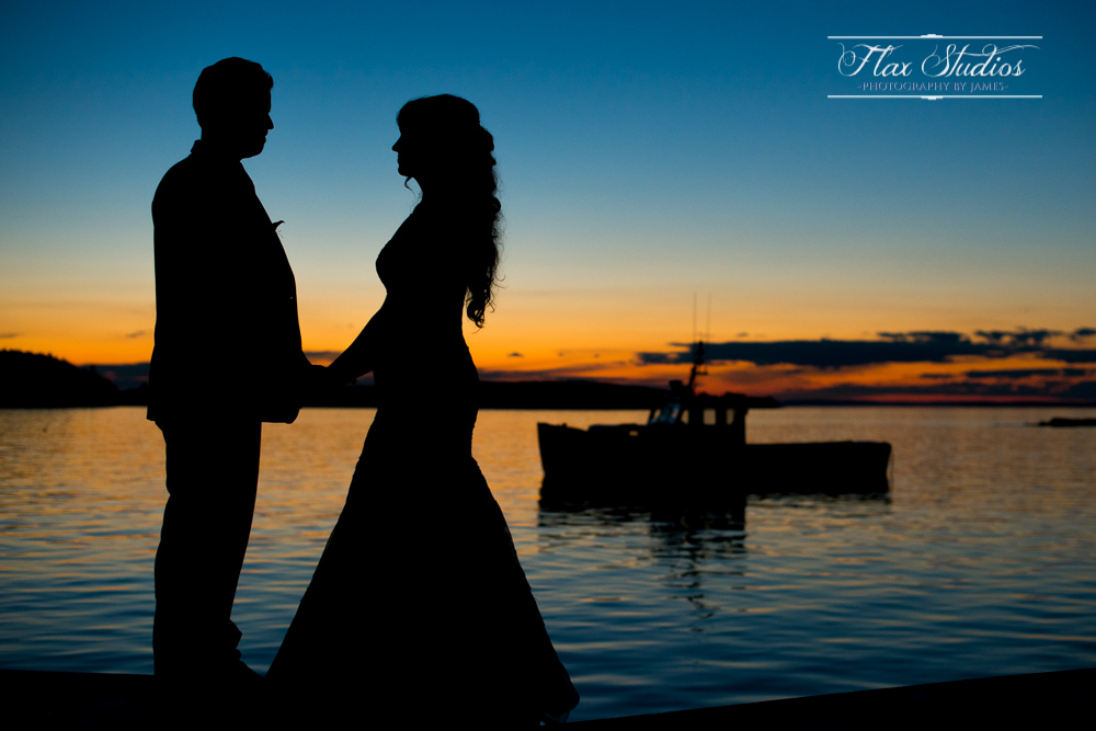 lobster boat silhouette photo Maine wedding photographers Flax Studios