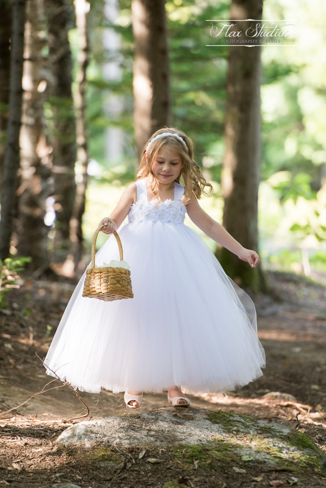 Flower girl in the woods