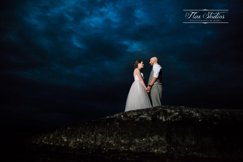 off camera flash wedding photo alamoostook lakeside inn