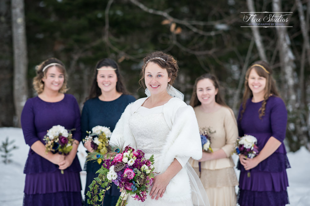 Bride and bridesmaids photos in the snow