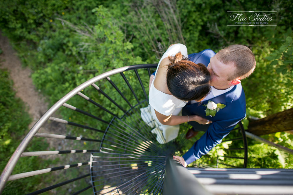 Spiral staircase wedding photos flax studios