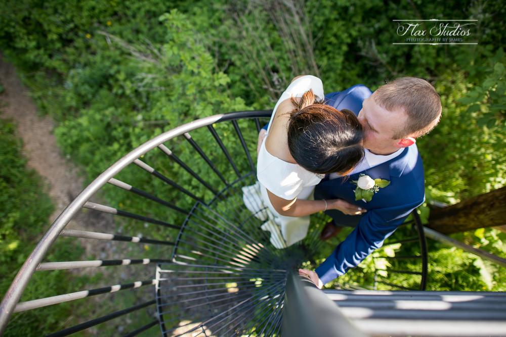 Spiral staircase wedding photos flax studios