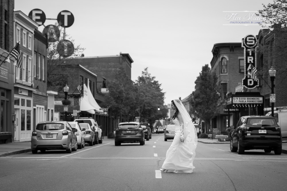 Wedding photos in downtown Rockland Maine