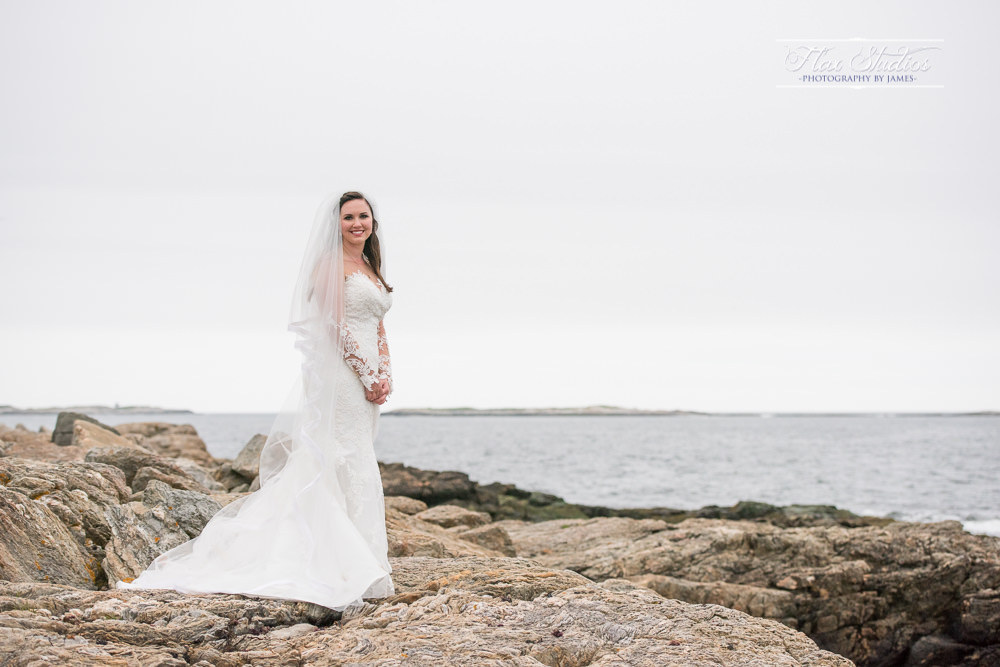 bridal portrait on the rocks in Maine