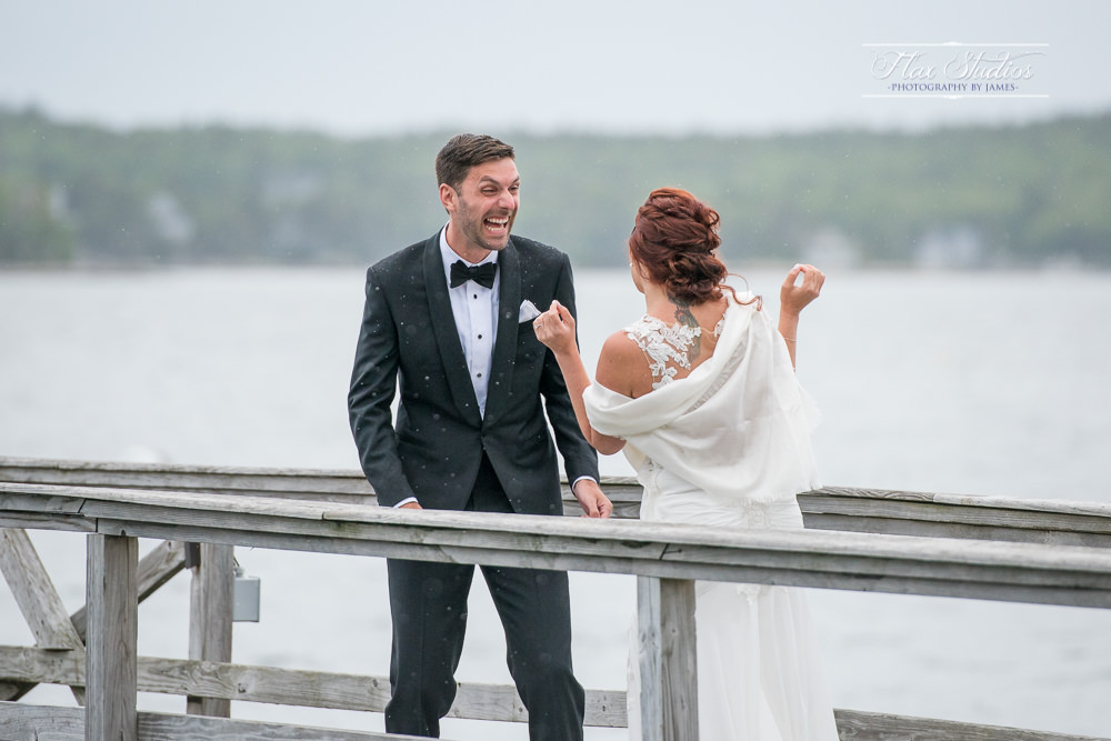 First look surprise reaction Spruce Point Inn Wedding Photographer