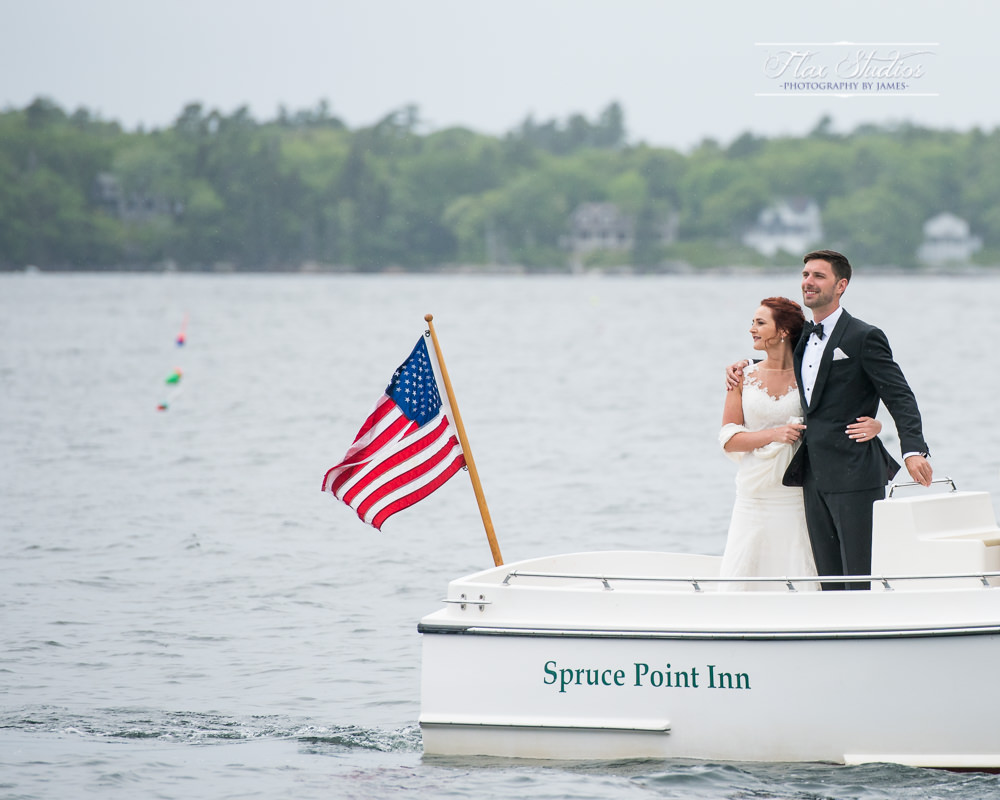 Wedding Photos on a boat Flax Studios
