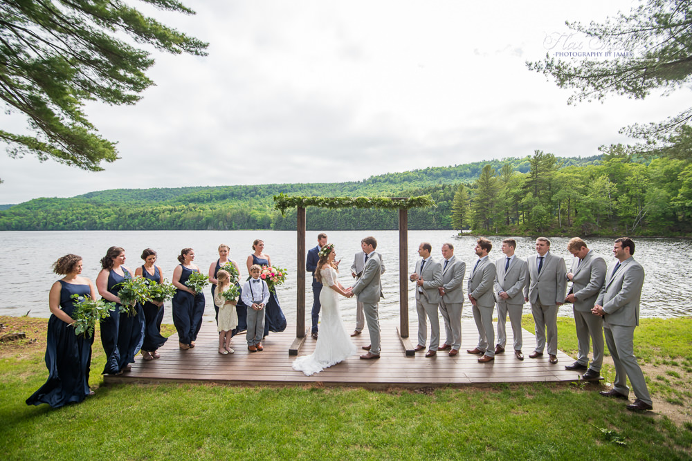 Maine Lakeside Cabins Wedding Ceremony