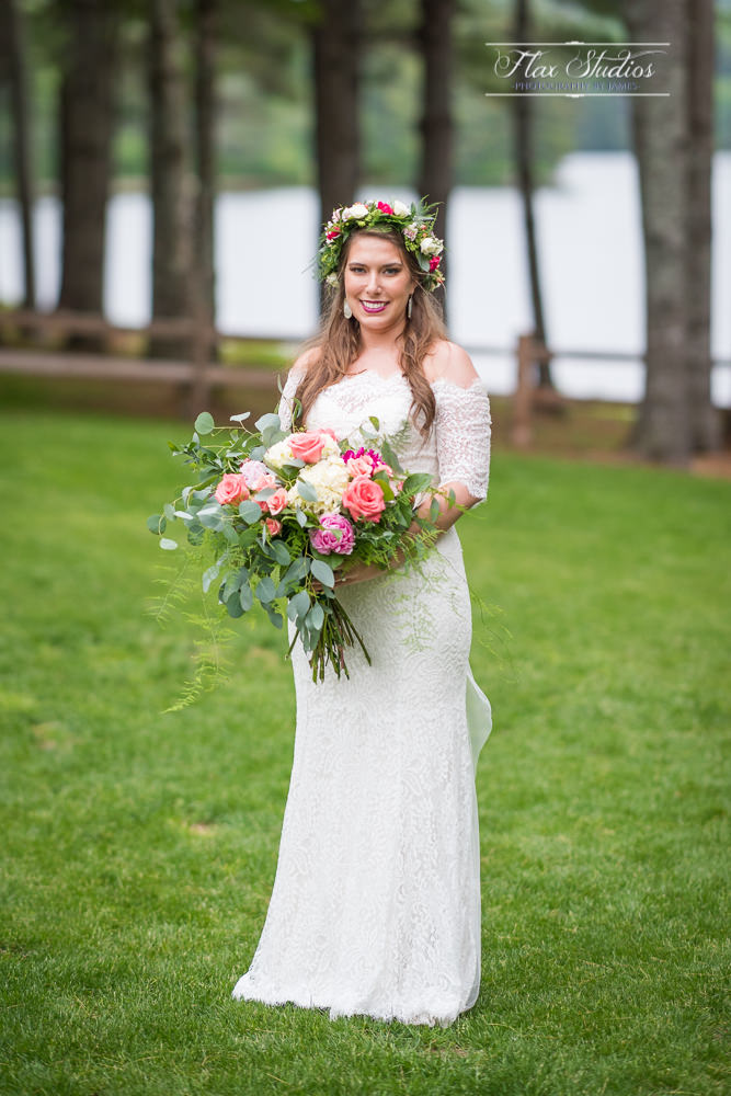 Bridal portrait at Make Lakeside Cabins Caratunk
