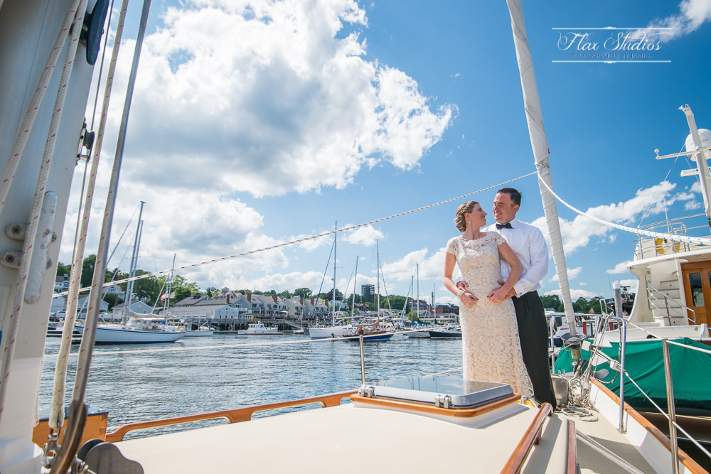 wedding photos on a sailboat