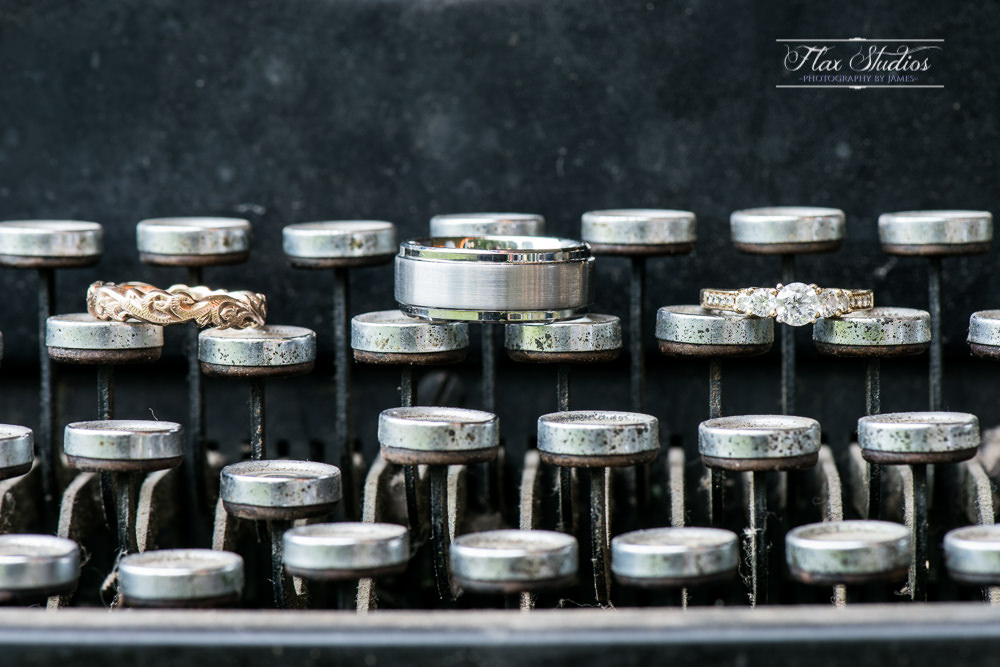 Wedding rings on a typewriter
