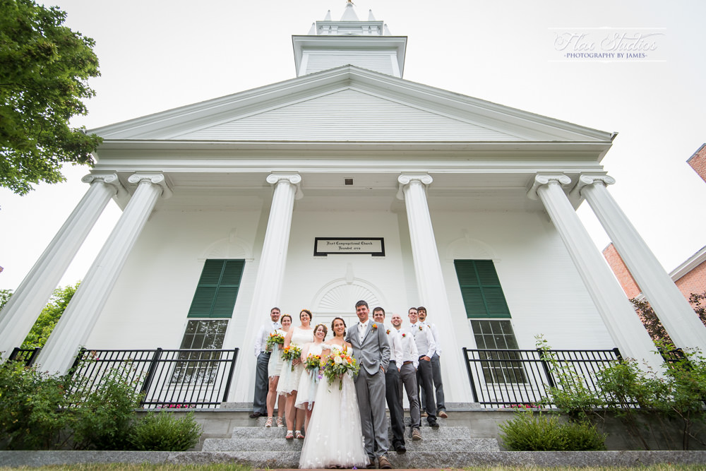Bridal party portraits at the first congregational church in Wiscasset