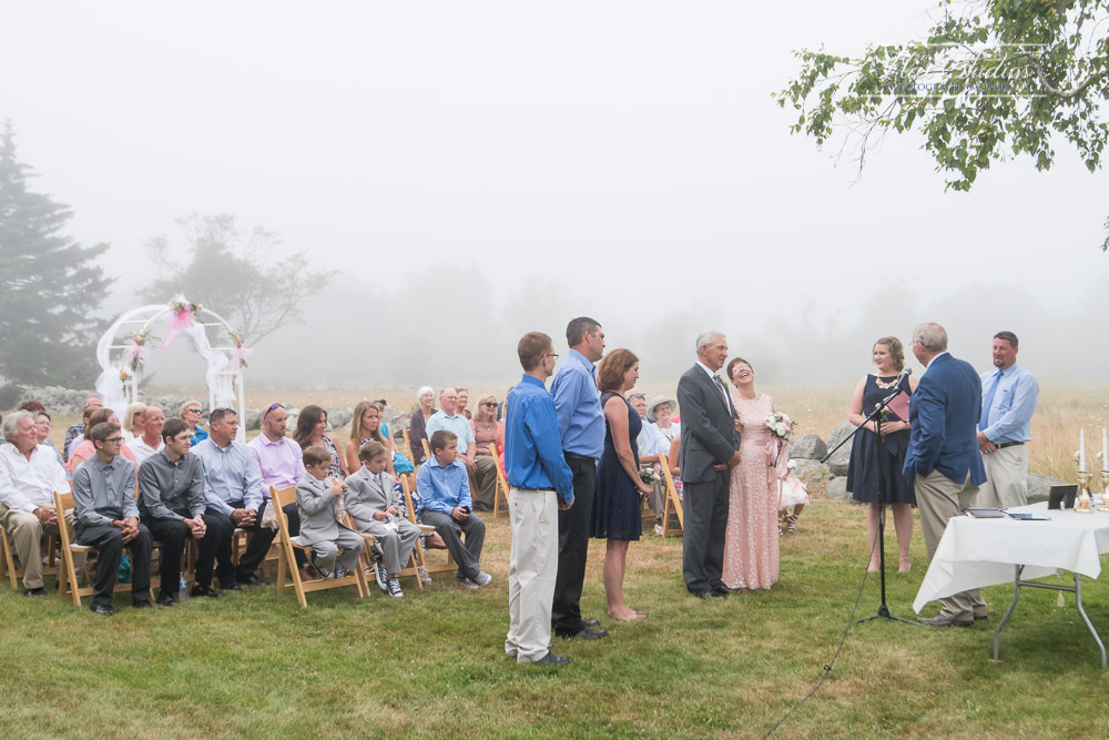 Maine backyard wedding ceremony