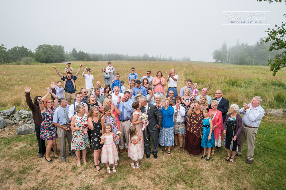 Large group photo at a wedding