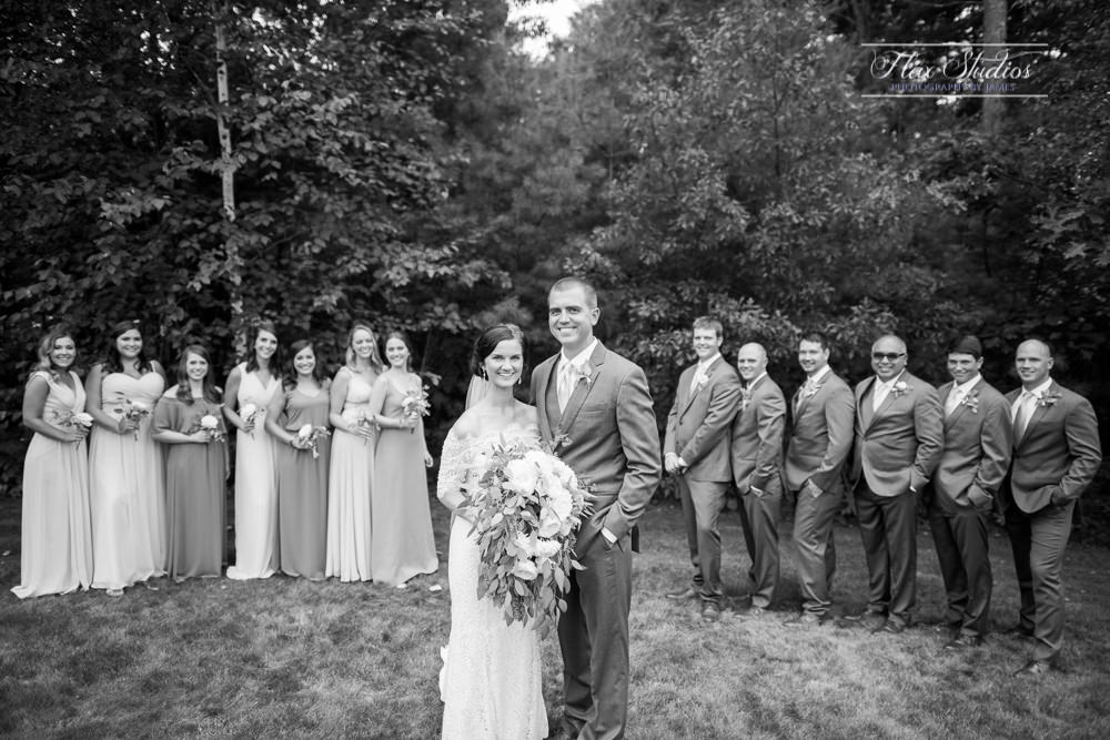 black and white bridal party wedding photos