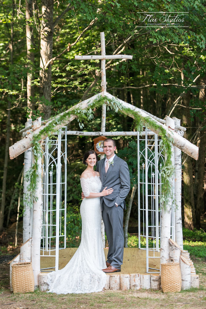homemade wedding arch arbor made out of birch wood