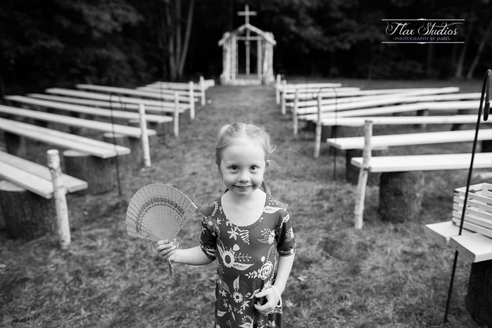 black and white wedding photo with a young girl