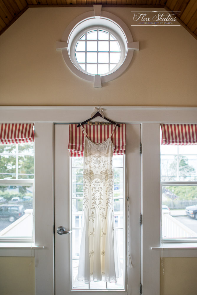 Peaking Island Wedding Dress Hanging in the window