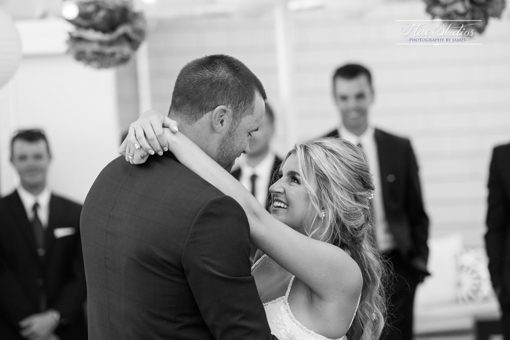 Peaks Island Maine Wedding First dance black and white