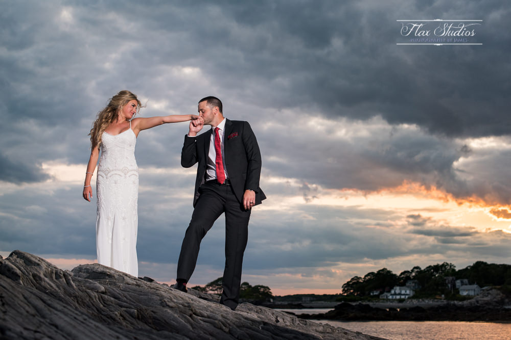 Peaking Island Maine Sunset Wedding Pictures Flax Studios