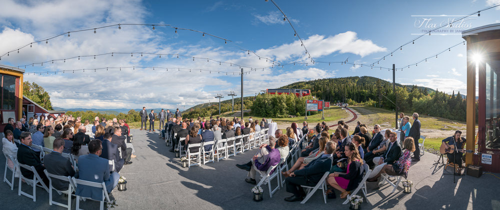 Ultrawide panorama on top of sunday river wedding