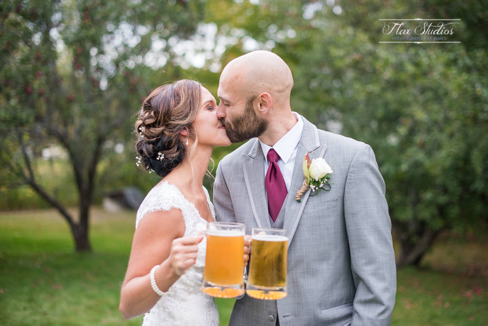 Having some beer after the wedding ceremony
