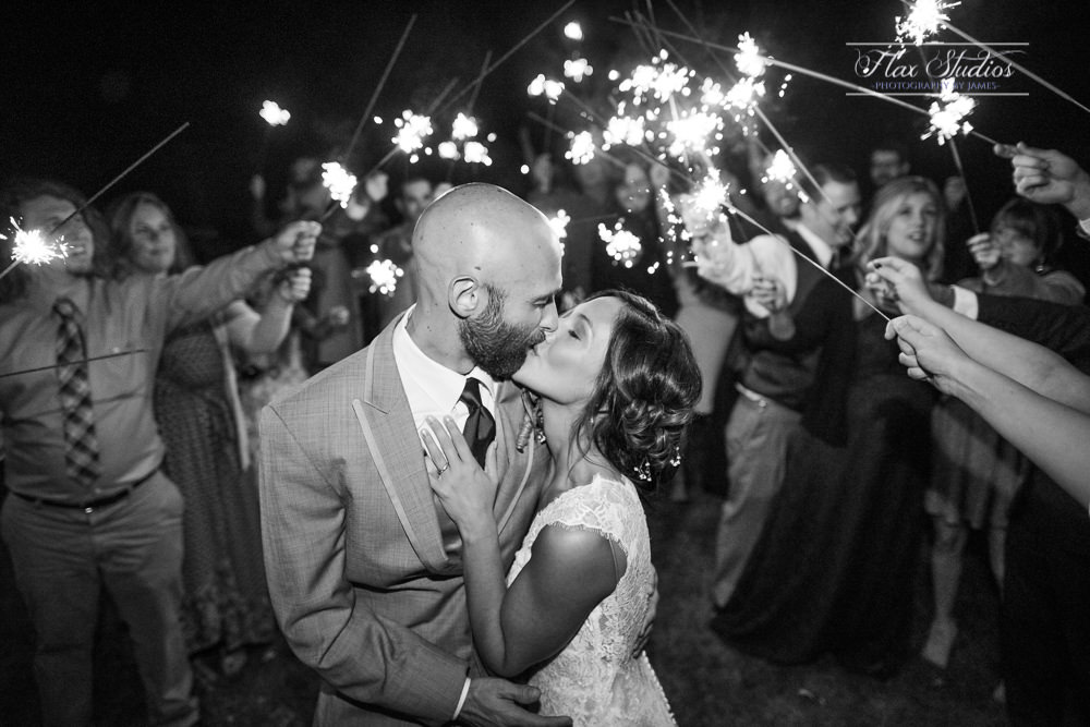 The Farm at Worthley Pond Sparkler exit wedding photos