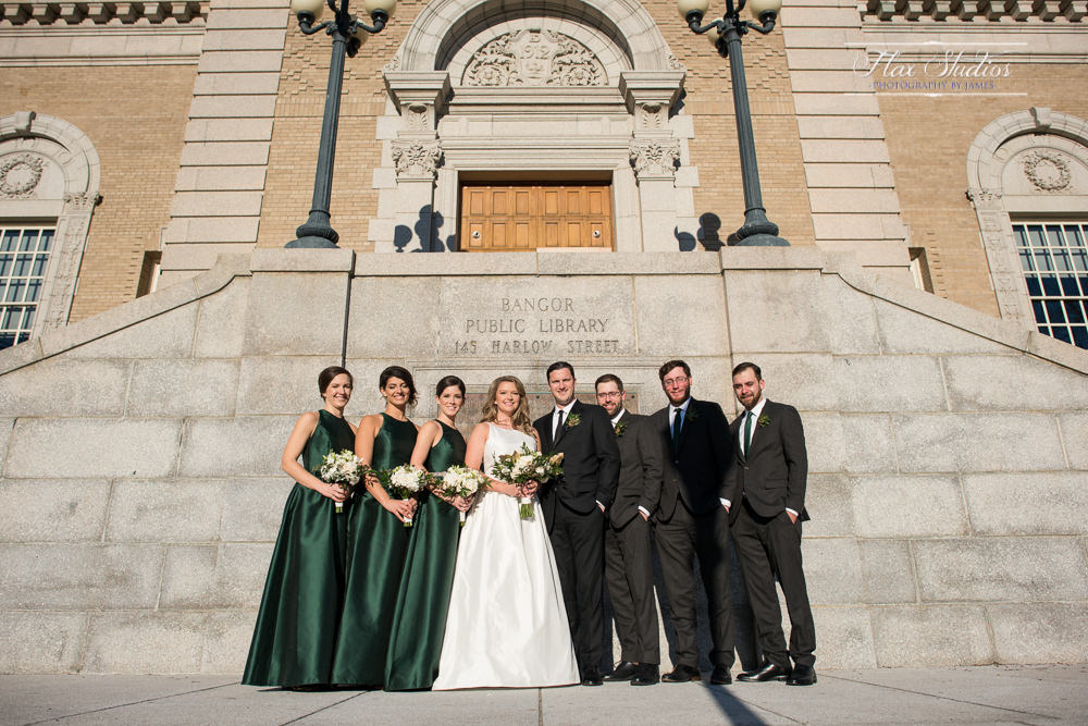 bridal party photos at the Bangor public library