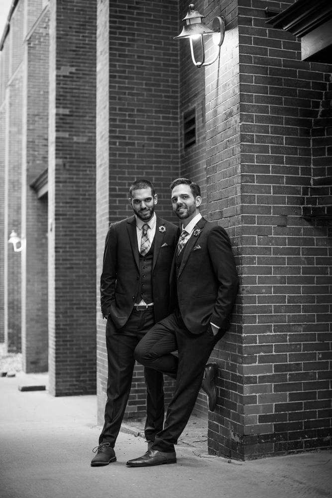 classic black and white wedding portrait