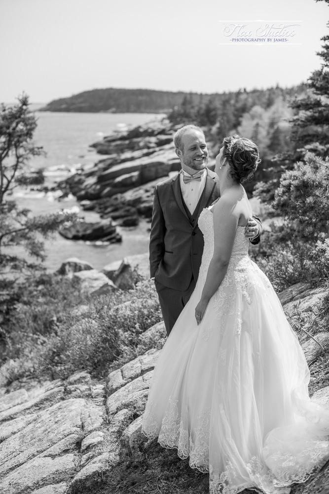 Black and white wedding photos acadia national park