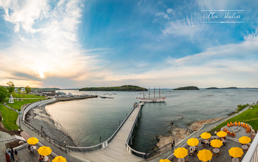 Bar Harbor Inn Upper deck porcupine room panorama by Flax Studios