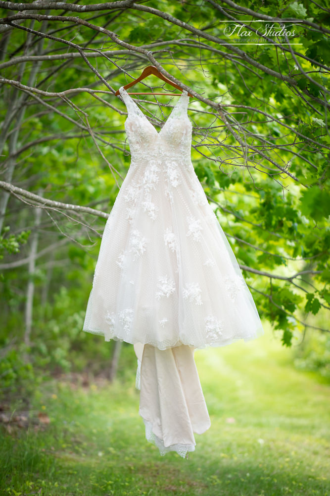 Wedding dress hanging in a tree