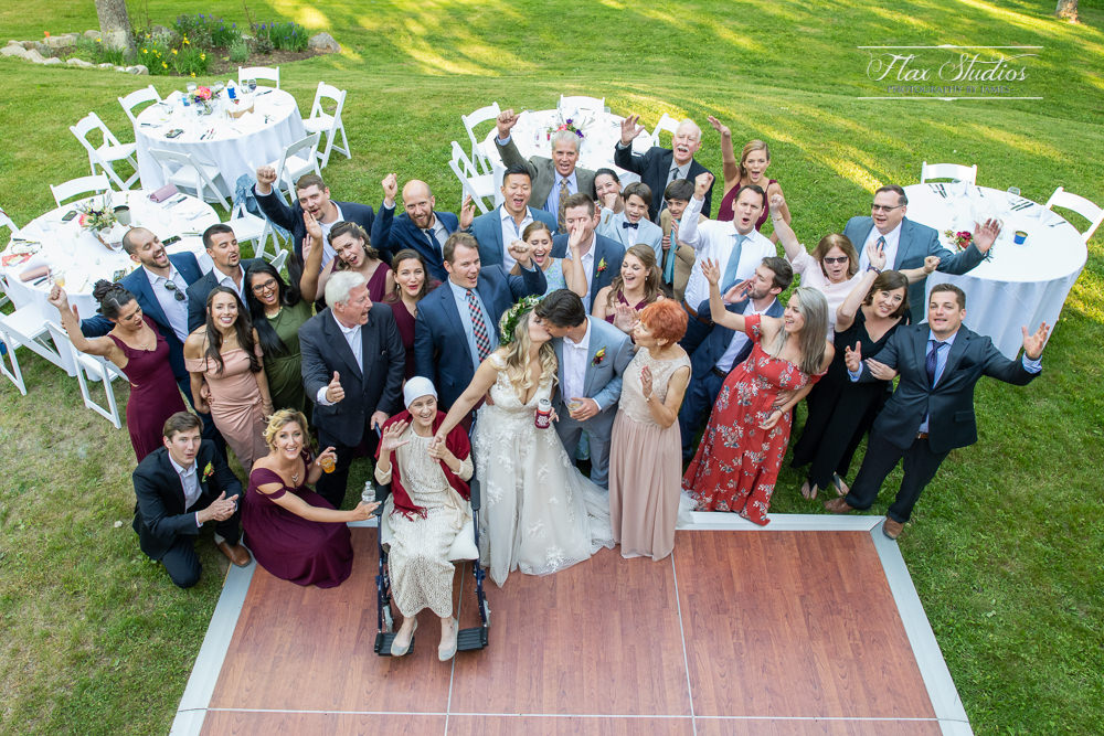group photo with all wedding guests