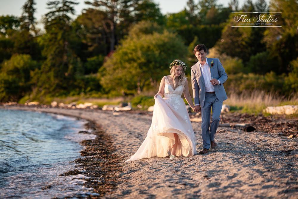 Sunset walk on the beach Castine Maine