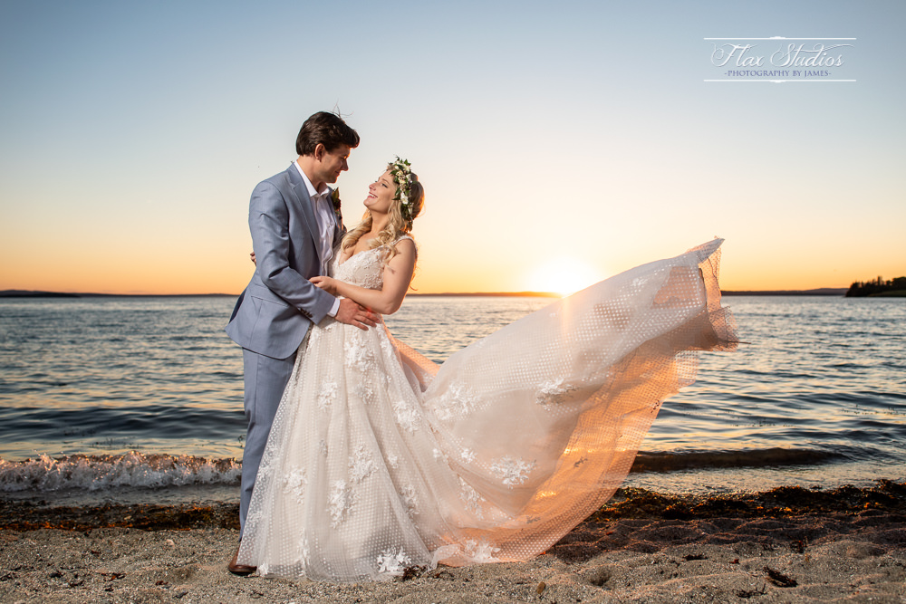 Dramatic wedding portraits Castine, ME Flax Studios