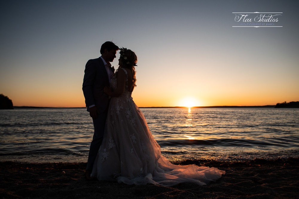 Silhouette sunset wedding photos Castine Maine