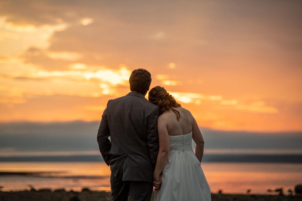 romantic sunset wedding photos Castine Maine