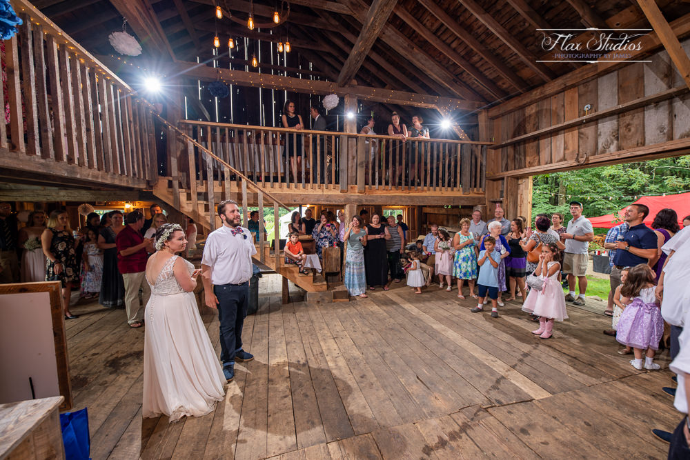 inside caswell farm wedding barn