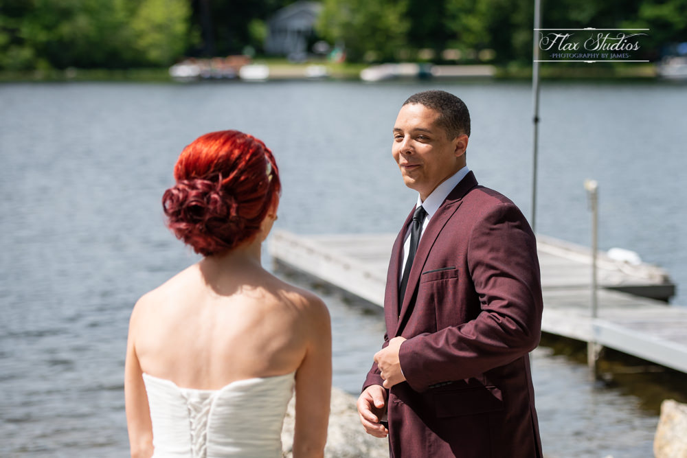 lakeside wedding first look