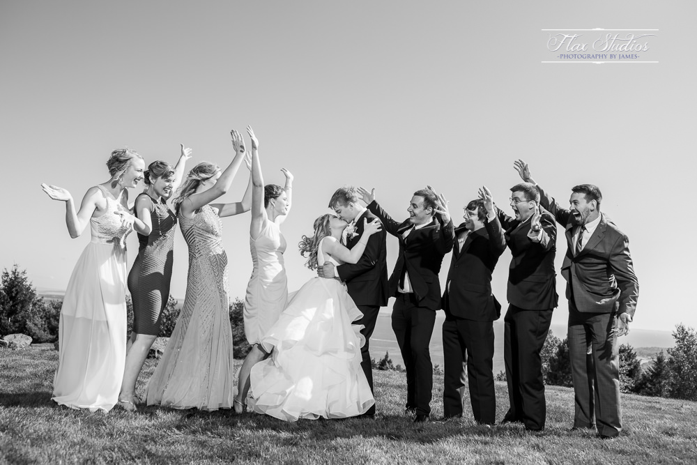 black and white wedding party photos