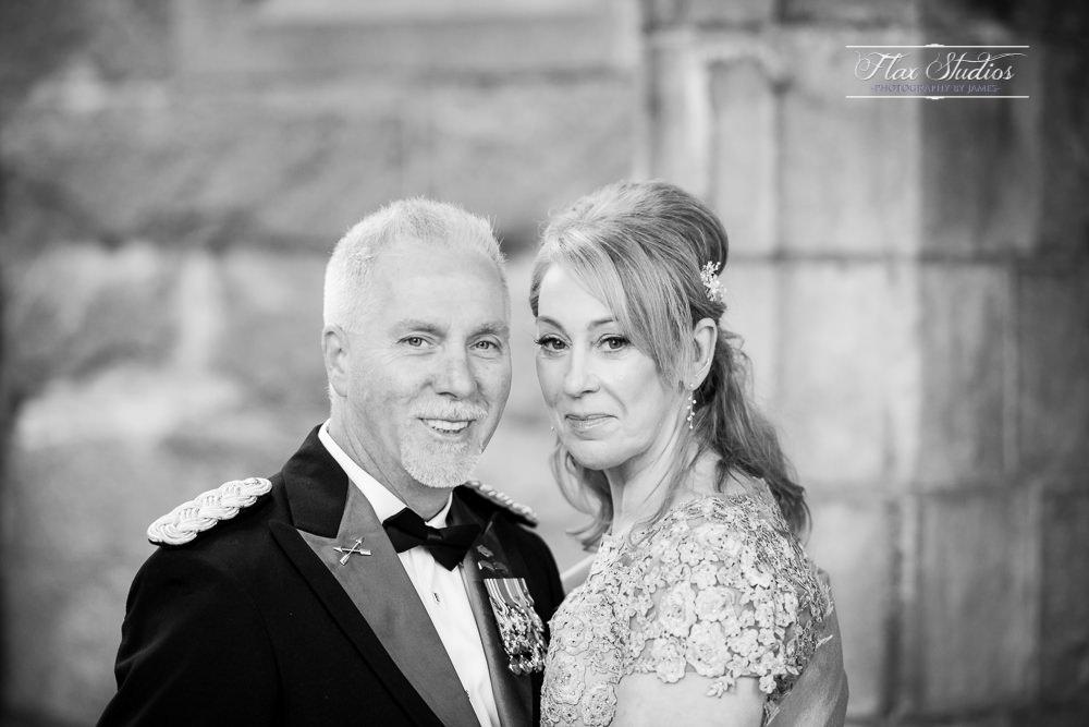 Classic black and white wedding portrait