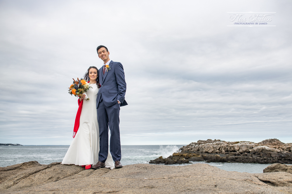 York Maine Wedding Photos on the rocks