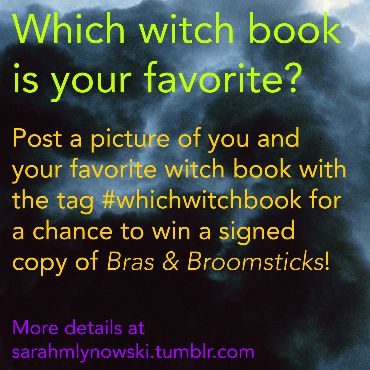 Bras & Broomsticks is turning 10! I'm celebrating with a giveaway! To enter, post a picture of you and your favorite witch book to Twitter, Tumblr, Instagram, or Facebook with the tag #whichwitchbook. Ten people will receive a signed copy of Bras & Broomsticks, and one winner will also receive this special broomstick charm! Important stuff: Be sure to tag your entry with #whichwitchbook! International entries are welcome! Winners will be chosen at random, but you can enter as many times as you'd like. (Just make sure to use a different witch book each time!) The giveaway will end on Sunday, February 22nd.  Yay! Happy Friday the 13th! xo Sarah