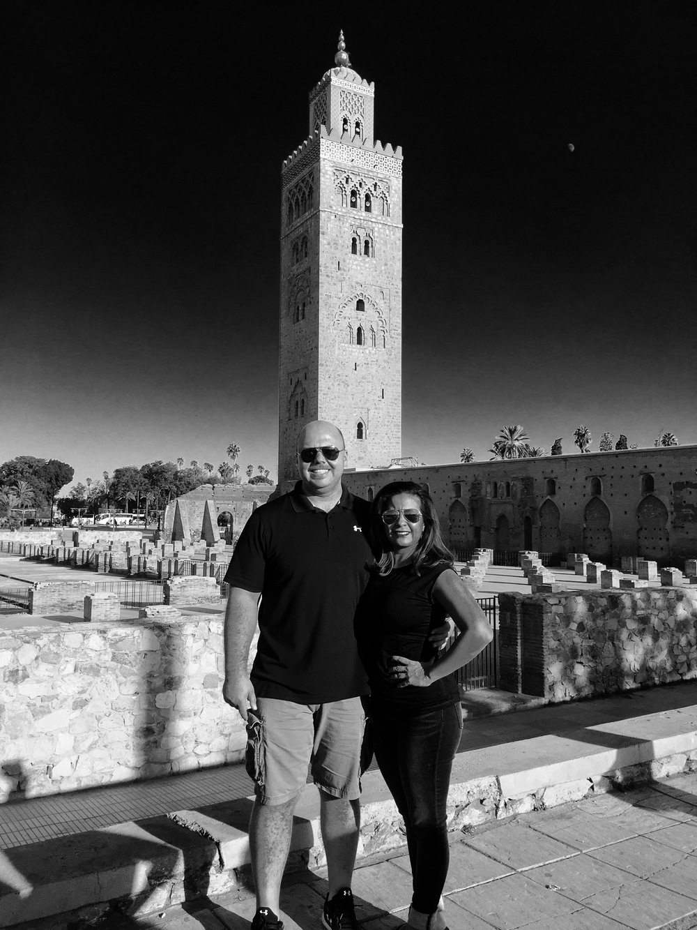 My Alex took a beautiful photo of Rusk and I at the Marrakech Medina square with a magnificent view of the Mosque minaret.